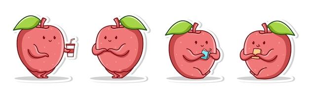 Creativo carino mela posa emozione di vergogna leggere un libro e mangiare