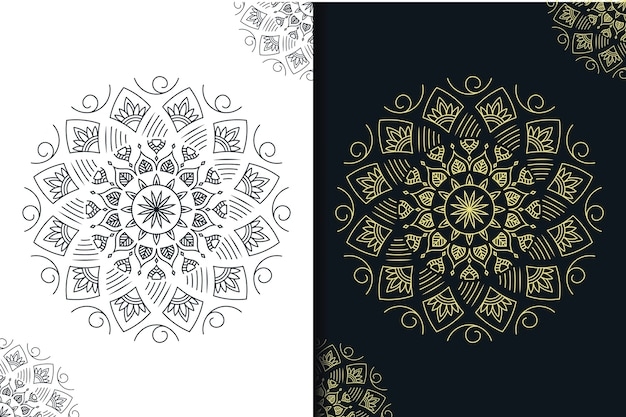 Mandala creativo scuro e oro con stile art line