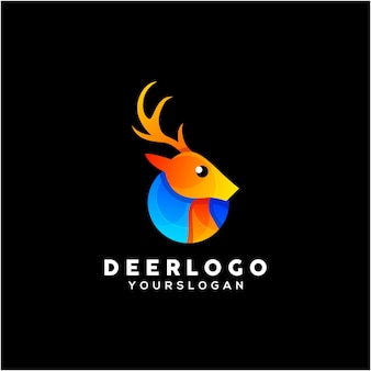Vettore di design del logo colorato cervo creativo