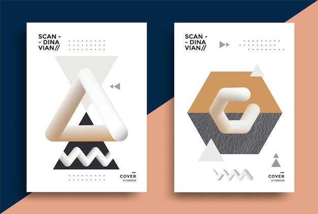 Copertina dal design creativo con forme d'arte geometrica grafica