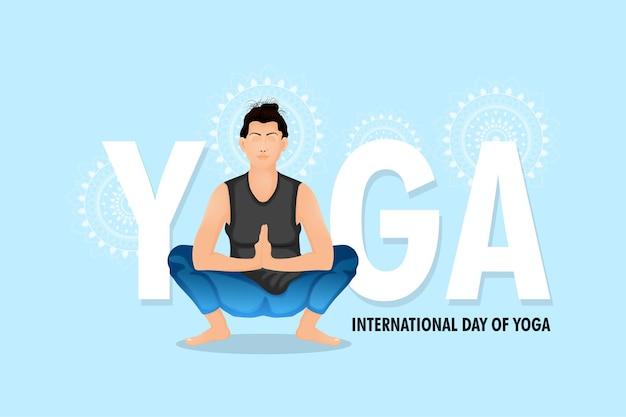 Design creativo della giornata internazionale dello yoga con illustrazione vettoriale
