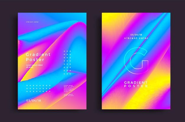 Poster di design creativo con sfumature vivaci sfondi luminosi colorati