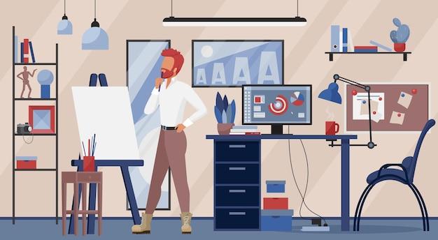 Illustrazione sul posto di lavoro di studio di design creativo