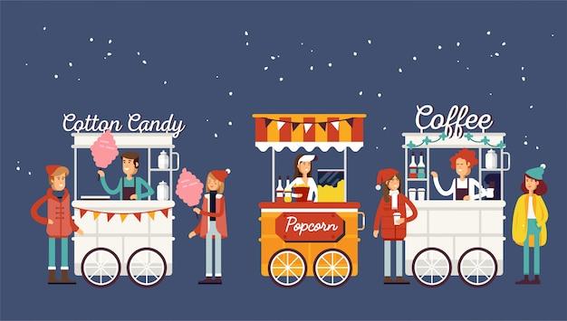 Carrello di caffè di strada dettagliato creativo, popcorn e negozio di zucchero filato con venditori. i giovani acquistano cibo di strada o cibo spazzatura nell'evento festival del cibo di christamas