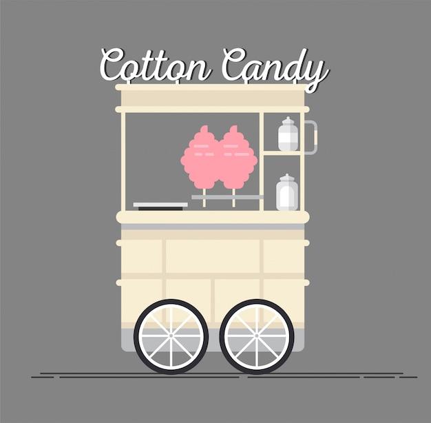Carretto di zucchero filato di strada dettagliato creativo o negozio con swetness.