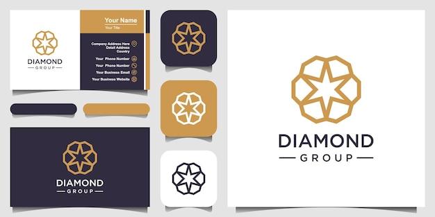Modello di progettazione del logo del concetto di diamante creativo e team del gruppo di diamanti per la progettazione di biglietti da visita