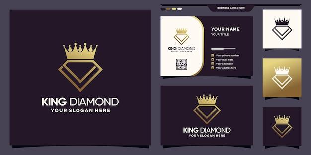 Logo creativo con diamante e corona con colore in stile sfumato dorato e design del biglietto da visita