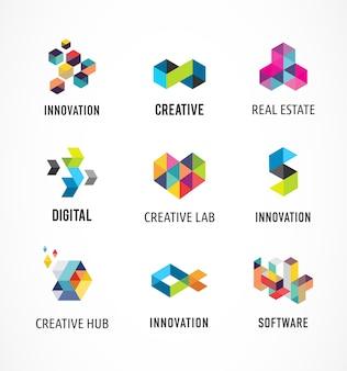 Icone, elementi e simboli colorati astratti creativi e digitali