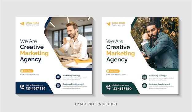 Marketing aziendale digitale creativo post sui social media o modello di progettazione di volantini quadrati vettore premium