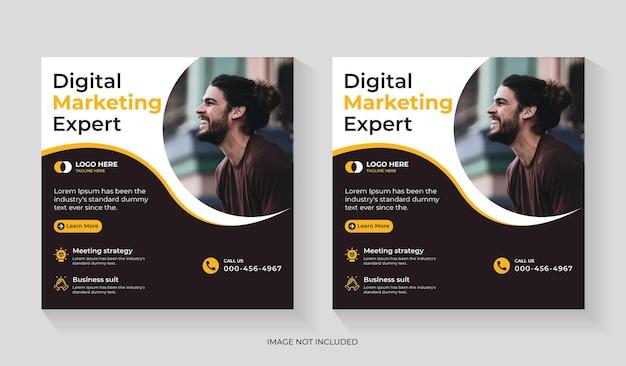 Agenzia di marketing digitale creativa post design sui social media con promozione aziendale e volantino quadrato aziendale