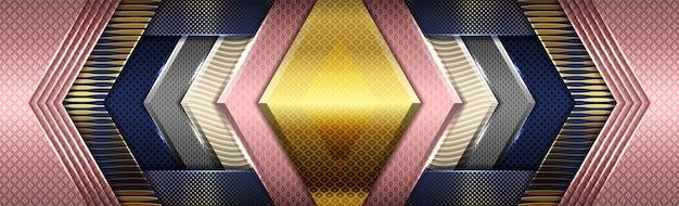 Rosa digitale creativa su blu scuro con sfumature color oro