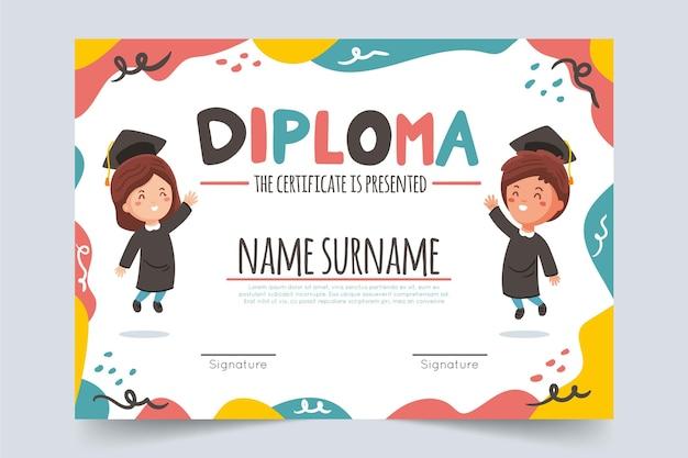 Modello di diploma creativo per bambini