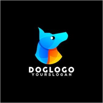 Vettore di disegno di logo colorato cane creativo