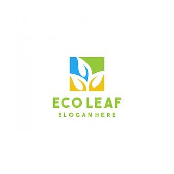 Design creativo del logo eco foglia