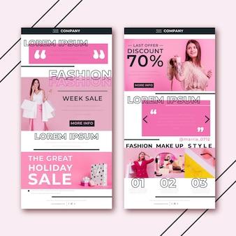 Modello di email e-commerce creativo con pacchetto di foto