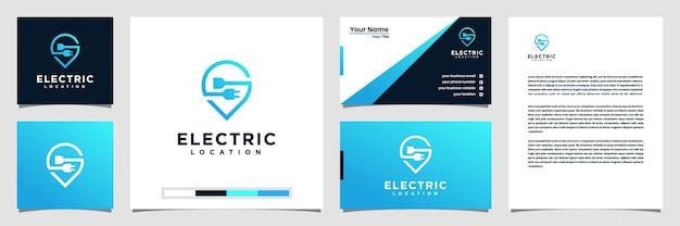 Design creativo del logo della posizione elettrica, con il concetto di un biglietto da visita con logo a spillo e carta intestata