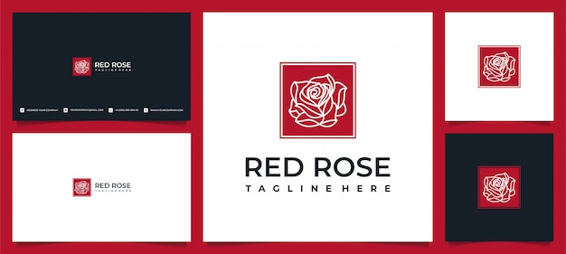 Design creativo elegante logo foglia e fiore rosa per la bellezza