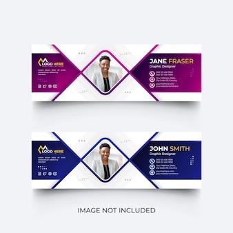 Modello di firma e-mail creativo o piè di pagina e-mail e set di modelli di copertina dei social media