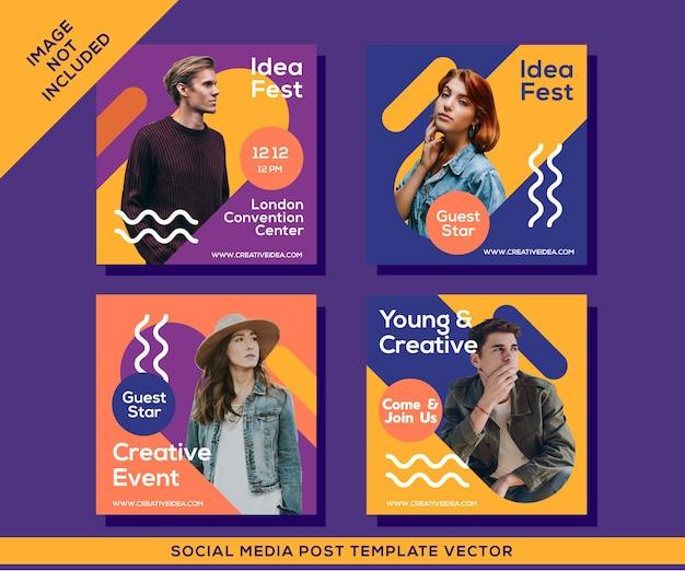Modello di post sui social media di instagram di eventi creativi