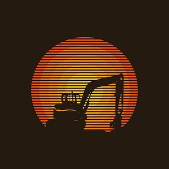 Progettazione creativa di logo di concetto dell'escavatore, illustrazione,