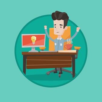 Uomo d'affari emozionante creativo che ha idea di affari.