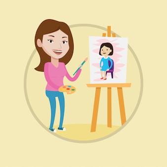 Ritratto femminile creativo della pittura dell'artista.