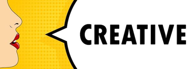 Creativo. bocca femminile con rossetto rosso che urla. fumetto con testo creativo. stile fumetto retrò. può essere utilizzato per affari, marketing e pubblicità. vettore eps 10.