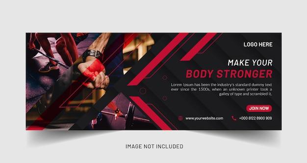 Modello di social media banner web creativo per fitness o palestra gym