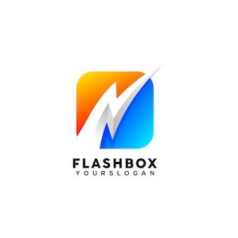 Modello di progettazione del logo colorato con scatola flash creativa