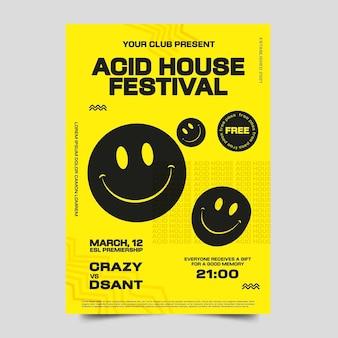 Modello di stampa di emoji acido design piatto creativo