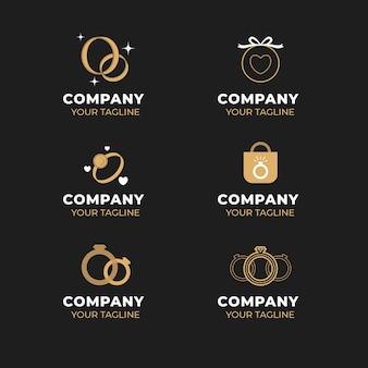 Modelli di logo anello design piatto creativo