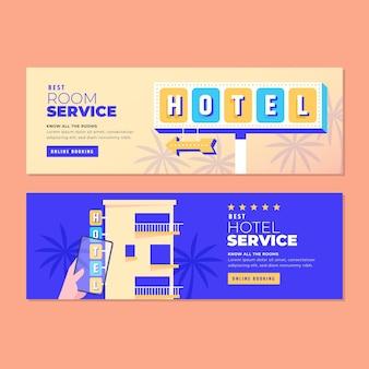 Modello di banner hotel piatto creativo con foto