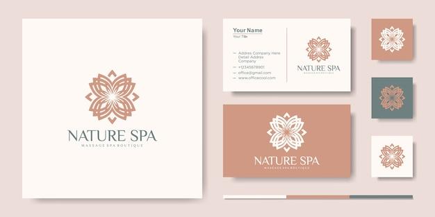 Modello di progettazione di logo di vettore di ispirazione foglia fiore creativo e biglietto da visita