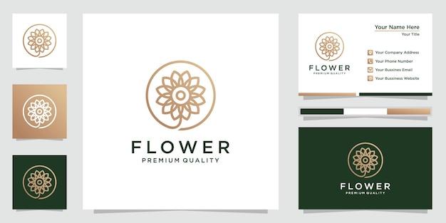Logo fiore creativo e biglietto da visita