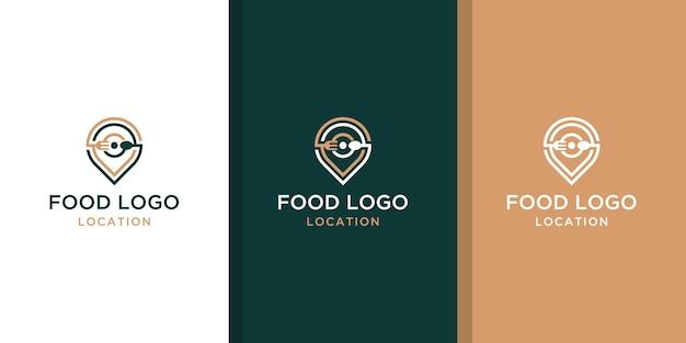 Design del logo della posizione di cibo creativo con il concetto di una spilla e un biglietto da visita