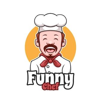 Creativo, divertente, felice, chef, cartone animato, logo design, logo