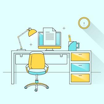 Argomento di arredo creativo nel design a linea piatta