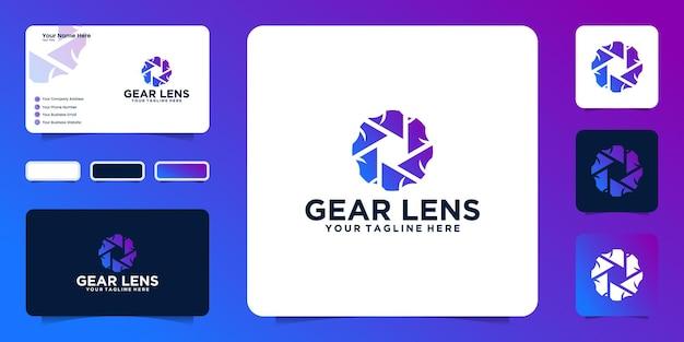 Ispirazione per il design del logo dell'ingranaggio creativo e obiettivo della fotocamera