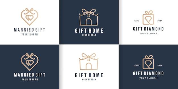 Design del logo regalo creativo con stile di linea Vettore Premium