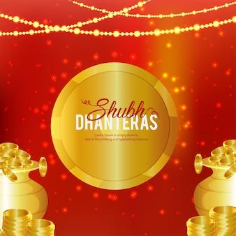 Moneta d'oro creativa per sfondo felice celebrazione diwali
