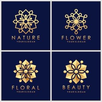 Disegni creativi logo fiore dorato con stile art linea.