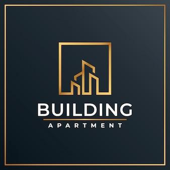 Design creativo logo di lusso dorato edificio