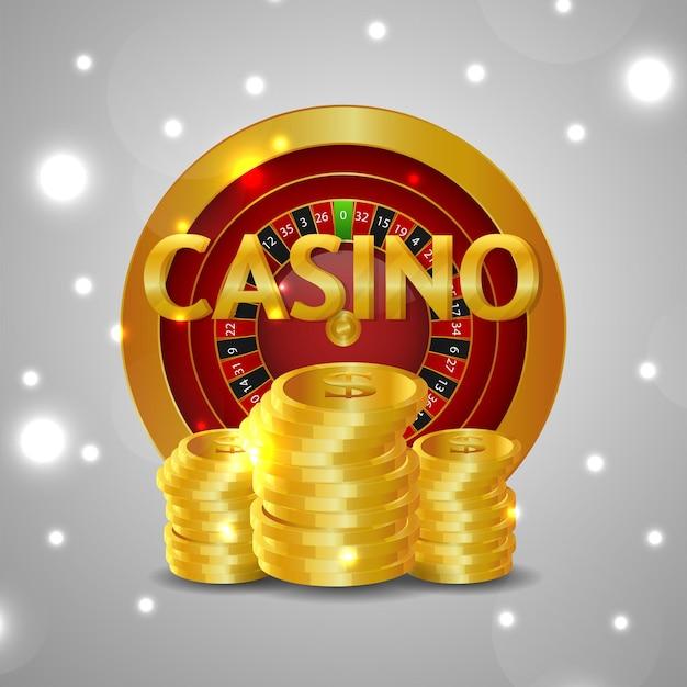 Effetto di testo dorato creativo con ruota della roulette e moneta d'oro su sfondo bianco isolato