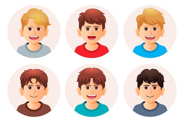 Collezione di icone del profilo sfumato creativo