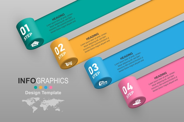 Banner grafico creativo step rolling infographic