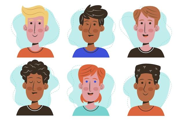 Collezione di icone del profilo disegnate a mano creativa
