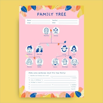 Foglio di lavoro famiglia albero disegnato a mano creativo