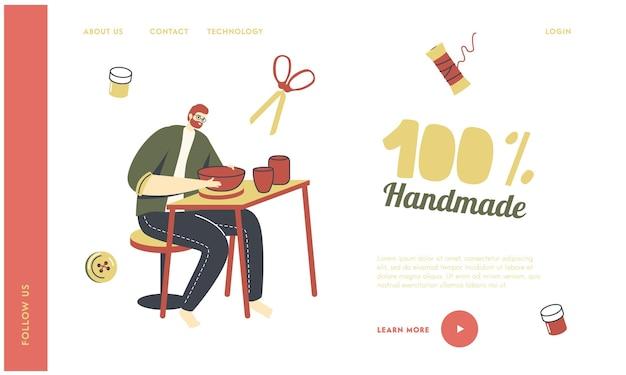 Modello di pagina di destinazione hobby creativo fatto a mano.