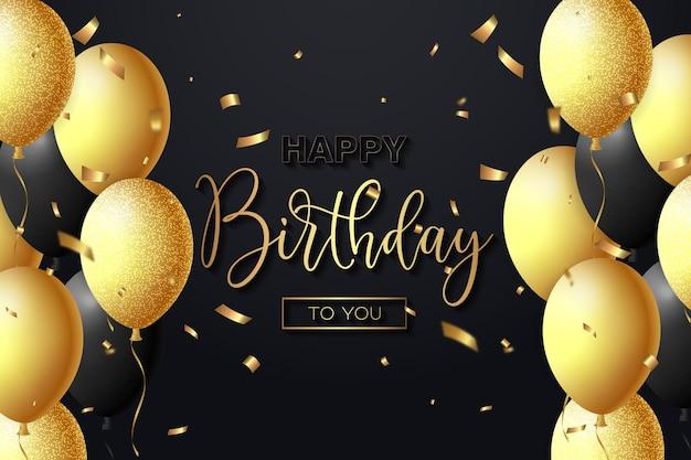 Sfondo creativo di buon compleanno con un vettore realistico di palloncini neri e dorati