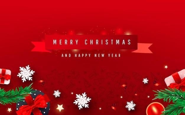 Sfondo creativo felice anno nuovo e buon natale o banner di vacanza
